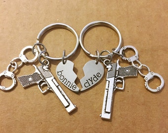 Bonnie and Clyde two keychains