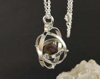 Planet Necklace - Gyroscope necklace - Spinning necklace - Sterling silver necklace - Handmade