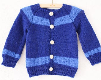 vintage children knit sweater cardigan nautical sailor size 92/98