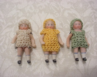 Choose One ~ Antique Bisque Porcelain German Doll Miniature Tiny w/ Crocheted Dress and Matching Hat