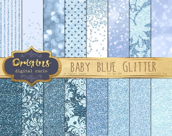 Baby Blue Glitter Digital Paper, blue sparkle glitter textures, blue bokeh sparkle baby shower glam patterns, pastel blue backgrounds