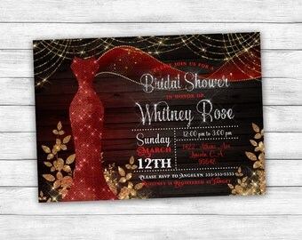 Red and Gold Dress Bridal Shower Invitation, printable digital customized shower invite, glitter sparkle glam wedding gown invitation