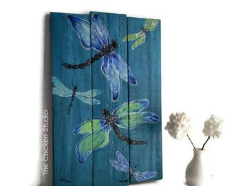 Dragonfly Painting, Wood Art, Original Painting, Wall Hanging, home decor, Gift, Reclaimed wood, nature art