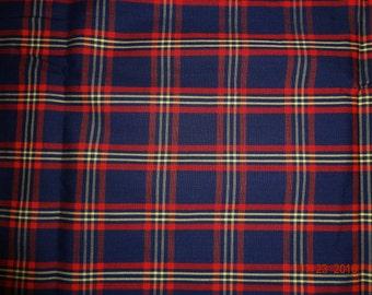 "1 1/4 Yards Vintage Dark Blue Plaid Stripe Fabric - 45"" wide"