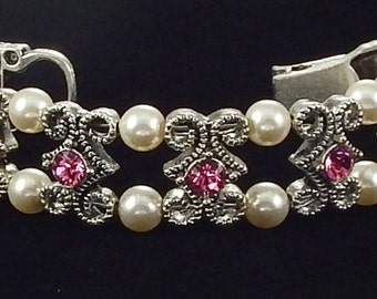 Rose Crystal Bracelet with Swarovski Crystals and Magnetic Clasp