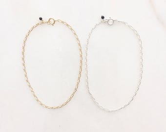 Nori bracelet | Dainty bracelet with a subtle texture | 14k gold filled & sterling silver