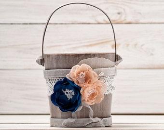 Navy Blue Blush Flower Girl Basket Wedding Basket Wood Flower Basket Flower Girl Bucket Blush and Royal Blue Peach Wedding Accessories