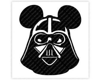 Disney, Star Wars, Darth Vader, Mickey, Minnie, Mouse, Head, Ears, Digital, Download, TShirt, Cut File, SVG, Iron on, Transfer
