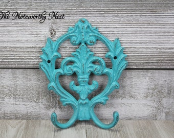 CHOOSE YOUR COLOR: Fleur De Lis hook // cast iron hook // coat hook // towel hook // kitchen hook // key hook // aqua hook // aqua decor
