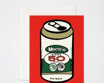 50 Beer Can Greeting Card