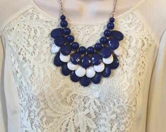 Navy Blue and White Nautical  Bubble Bib Beaded Chandelier Statement Necklace with Matching Earrings
