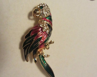 Beautiful Paved Rhinestone and Enamel Bird of Paradise gold tone brooch