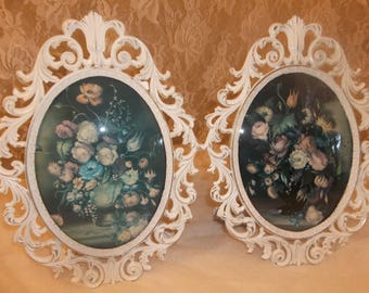 Gorgeous Two  Vintage Ornate Chippy White Convex Glass Italian Roses Framed Art