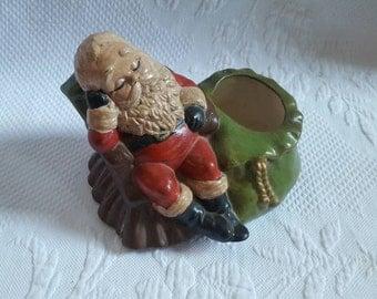 Vintage Ceramic hand-painted SANTA CLAUS bowl