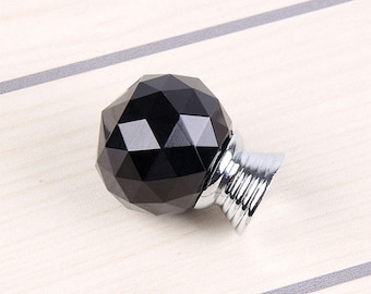 2pcs/set 30MM dia black crystal door handle door knob