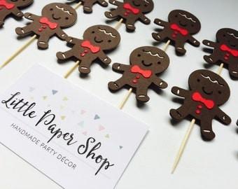 Handmade Cupcake Toppers - Gingerbread Man Christmas x 12
