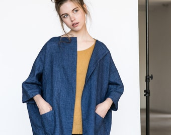 Washed oversized short linen - wool blend kimono/cardigan/jacket