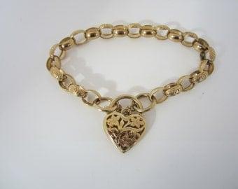 Yellow Gold Heart Bracelet, Vintage Bracelet, Filigree Heart