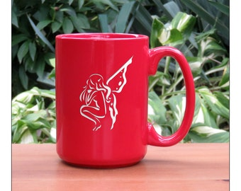 Fairy Coffee Mug / #4 / 15 oz Ceramic Coffee Mugs / Engraved Large Tea Cup / Retirement Gift / Tea, Coffee, or Hot Chocolate Mug