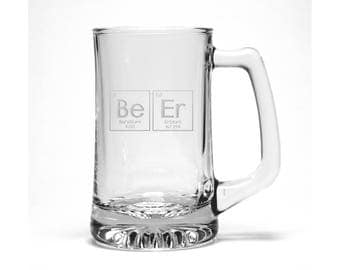 Funny Beer Mug / Periodic Table Beer Glass / Free Personalization / Engraved Beer Glass / Personalized Glass / Personalized Gift