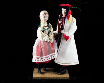 Hand Painted Dolls on Stand - 1940s 1950s Peasant Couple Man & Woman - Traditional Folk Costume - Handmade in Poland Europe - 48066