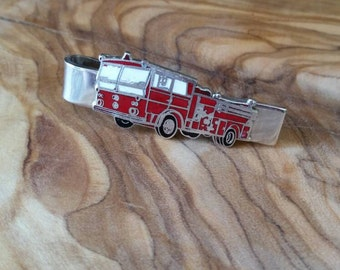 Vintage Hook Fast Red Enamel and Silver Fire Truck Tie Clip