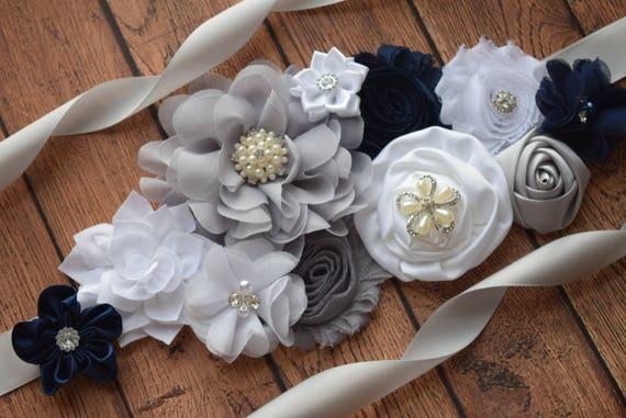 Flower Sash, white grey and navy Sash #2 , flower Belt, maternity sash, flower girl sash, baby shower sash