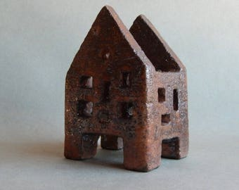 Ceramic house - a lantern, a house made of clay, art ceramics