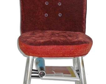 Upholstered chair with silver, orange chair with rusty, upcycling chair, redesign, extravagant chair, chair with storage, colored chair