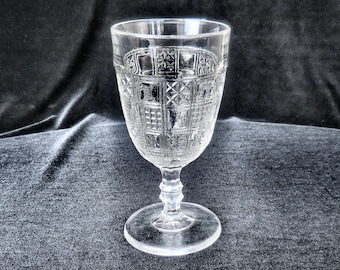 U. S. Pressed Glass Water Goblet in the Crazy Patch pattern circa 1880s