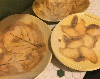 Trio of Ceramic Leaf Platters, Handmade Stoneware