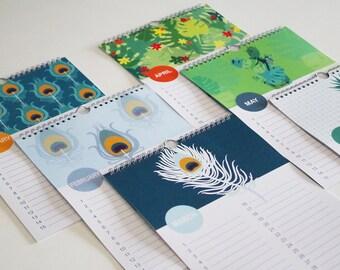 perpetual calendar with peacock pattern, Birthday calendar, blue