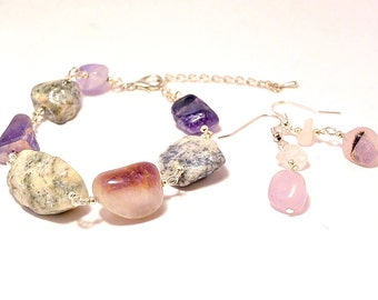 Gemstone jewelry set, Amethyst Jasper, Earrings Bracelet, Naturalist jewelry, Rough Tumble, Gemstone rock, adjustable chain, Dangled earring