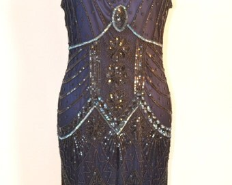 IN STOck! 1920s Style STARLIGHT Black and Midnight Blue Beaded Flapper Dress- LARGE