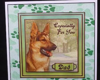 3d Alsatian Card, German Shepherd Dog Card, 3d Decoupage Card, Handmade in UK, Father's Day Card, Dog Birthday Card