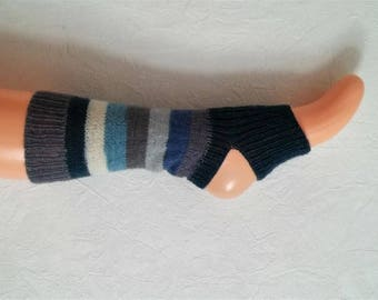Yoga socks, toeless socks, dancing, Pilates, hand knitted, blue, beige, grey, German quality