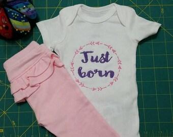 Instant Download Embroidery Machine Jef Designs Arrow Wreath Mod Elements Just Born for  Newborn Baby Bodysuit 2 Sizes JEF Format
