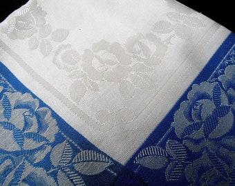 Blue Rose Vintage Damask Tablecloth. Rayon