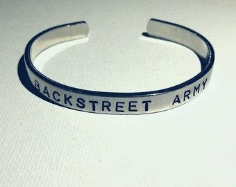 "Backstreet Army - Hand-Stamped Aluminum Cuff Bracelet- 1/4"" Wide - Backstreet Boys Inspired"
