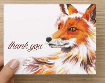 """Fox Greeting Card - Set of 20 5.5x4"""" folded cards"""
