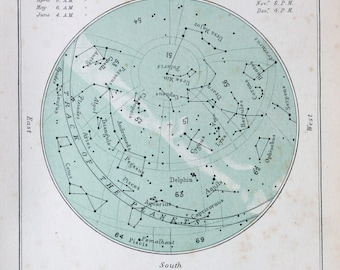 Antique Astronomy Print -  Celestial Star Chart for August, Colour Astronomical Print c. 1900