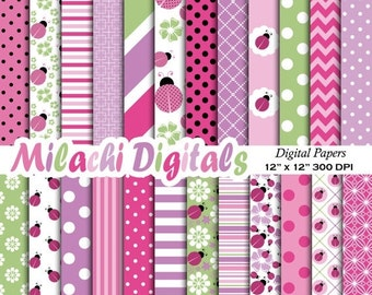 60% OFF SALE Pink Ladybug digital paper, 1st Birthday scrapbook papers, baby shower wallpaper, lady bug background - M385