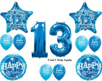 13TH THIRTEENTH Boy Teenager Happy Birthday Balloons Decoration Supplies