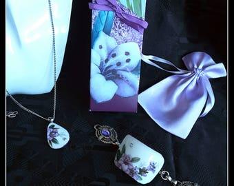 Handmade luxury broken china purple flowers OOAK pendant and bracelet