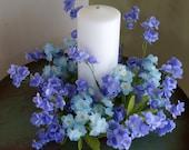 Lavender Blue Flowers Wreath, Lavender Double Ruffle Flowers Lantern Swag, Beach Lantern Swag free shipping