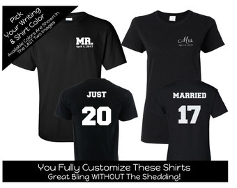 Just Married Year - Solid Number - Mr. and Mrs. Shirt Set - Customize the Date and Colors- Honeymoon Shirts - Wedding Gift - Shower Gift