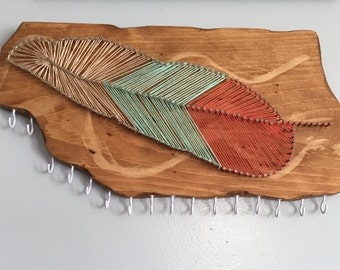 Feather nail string art jewelry holder | jewelry wall display | nail strimg art