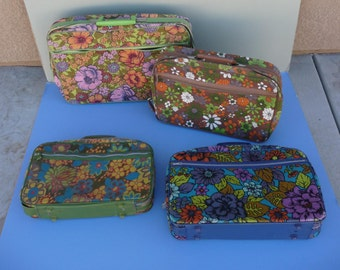4 Vintage 1970's Hippie Suitcases ~ Colorful Flower Luggage ~ Cloth With Plastic Handle And Lightweight ~ Different Sizes And Very Clean