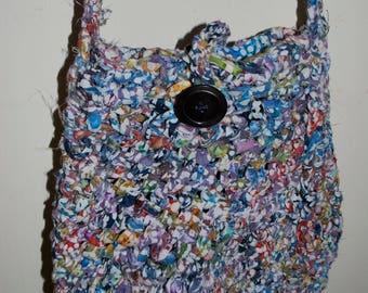 hand crocheted  rag purse, tote, handbag primary colors, lined in  batik, versatile, sturdy