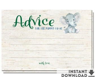 Baby Shower Advice Cards for Mommy Boy Elephant Baby Shower Games Elephant Boy Printable  (Instant Download) No.1265BABY